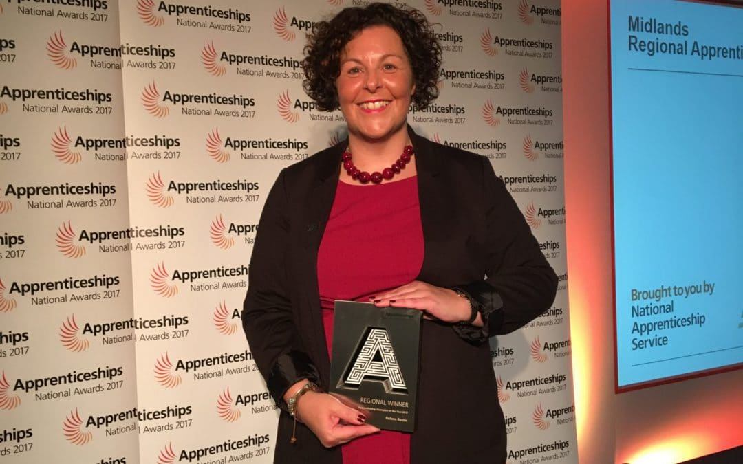 Helena Baxter from Worcestershire Apprenticeships is a winner in the National Apprenticeship Awards 2017
